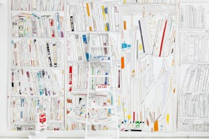 BÜCHERWAND – 2014  (INSTALLATION), 240X360X60, TUSCHE, PAPIER, MIXED MEDIA