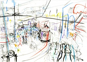 ISTIKLAL – 2009, 21X29,5, FILZSTIFT, BUNTSTIFT