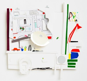 M.Atelier mit Eiswagen 2015  24 x 24  Pigmenttusche, Filzstift, Papier farbig