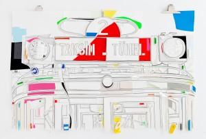 Taksim- Tünel  2015  92 x 143  Pigmenttusche, Papier, Fundstücke, mixed media