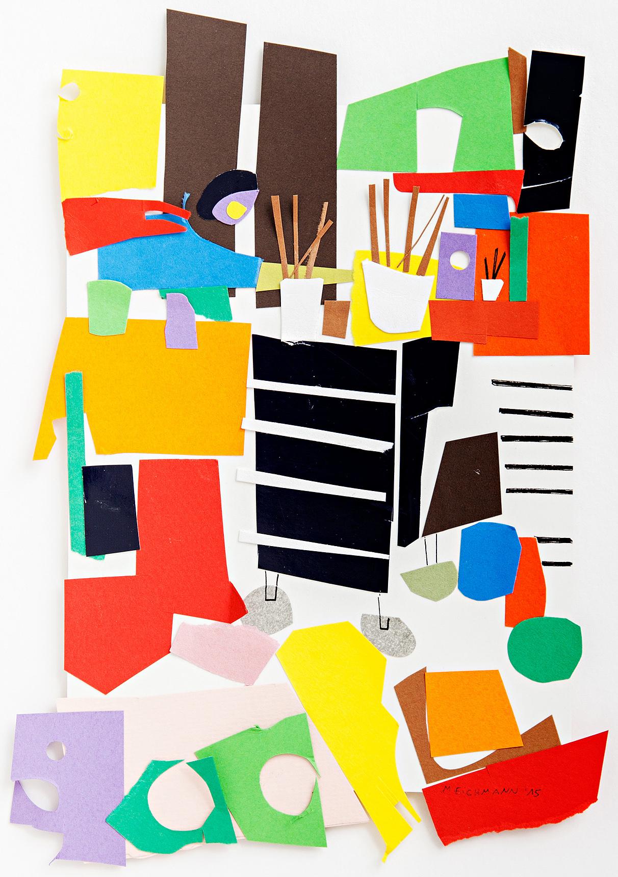 """MARION EICHMANN """"ATELIER, PLANSCHRANK,PINSEL"""" 29,5 x 23, 2015"""