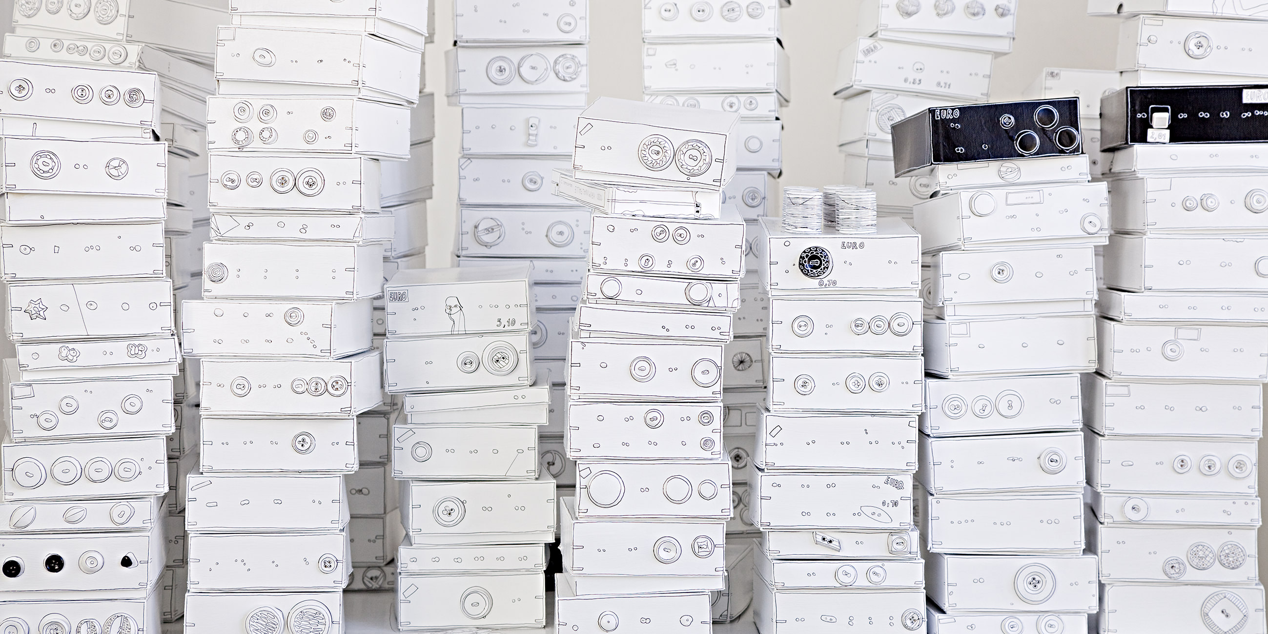 "MARION EICHMANN ""BUTTON DOWN"" INSTALLATION 2011 180 X 160 X 80 (VARIABEL) MIXED MEDIA"